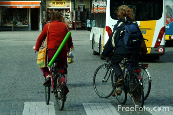 Picture of Cycling, Bruges, Belgium - Free Pictures - FreeFoto.com