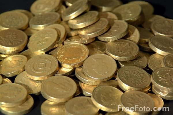 Picture of One Pound Coins - Free Pictures - FreeFoto.com