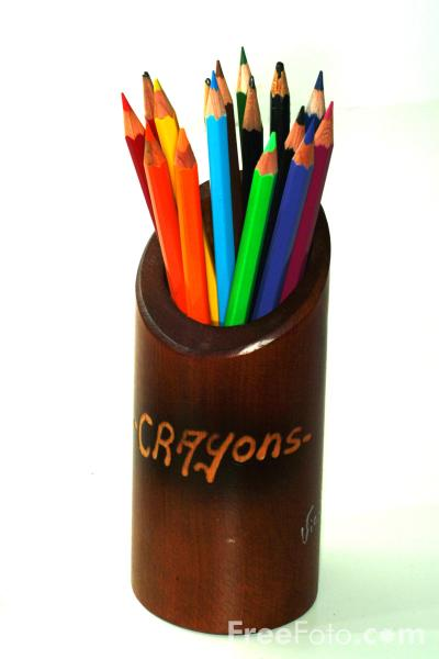 Picture of Coloured Pencils in a Pot - Free Pictures - FreeFoto.com