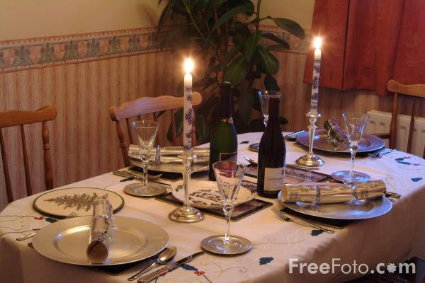Picture of Table set for a Christmas Meal - Free Pictures - FreeFoto.com
