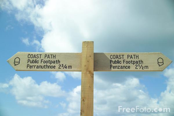 Picture of Coast Path Sign,  Cornwall - Free Pictures - FreeFoto.com