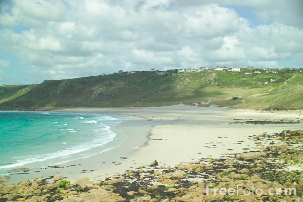 Picture of Whitesand Bay with Sennen Cove Beach,  Cornwall - Free Pictures - FreeFoto.com