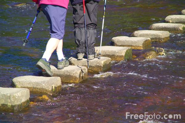 Picture of Stepping Stones, Stanhope Ford, River Wear, Weardale - Free Pictures - FreeFoto.com