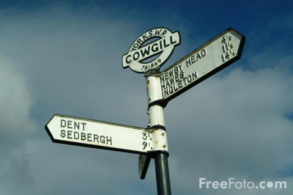 Picture of Road Sign, Dentdale, Cumbria - Free Pictures - FreeFoto.com