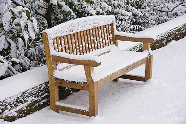 Picture of Snow covered bench - Free Pictures - FreeFoto.com
