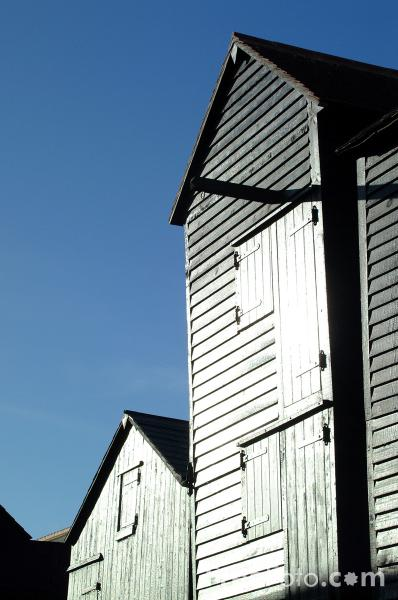 Picture of The tall black huts are net stores and are unique in Britain - Free Pictures - FreeFoto.com
