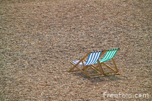 Picture of Deck Chairs, Brighton, Sussex - Free Pictures - FreeFoto.com