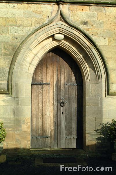 Picture of Front Door, Parish Church, Whalton, Northumberland - Free Pictures - FreeFoto.com
