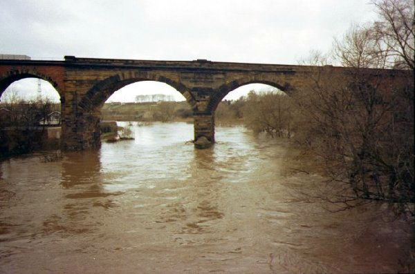 Picture of The River Tees in Flood at Yarm - Free Pictures - FreeFoto.com