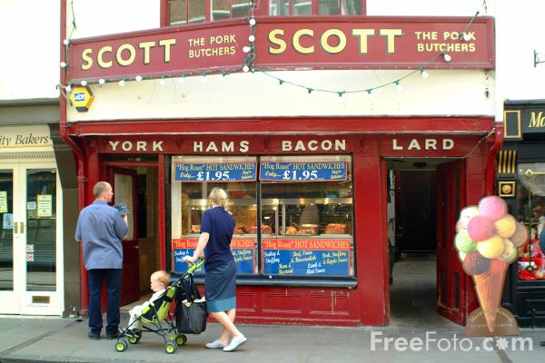 Picture of Scott The Pork Butchers, Low Petergate, City of York - Free Pictures - FreeFoto.com
