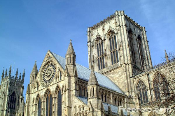 Picture of York Minster, famous for its lovely windows which contain more than half the medieval stained glass in England. - Free Pictures - FreeFoto.com