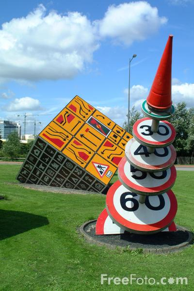 Picture of Road Sign Sculpture, Cardiff Bay, Cardiff - Free Pictures - FreeFoto.com