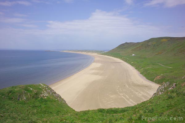 Picture of Rhossili Bay, Gower Peninsula, South Wales - Free Pictures - FreeFoto.com
