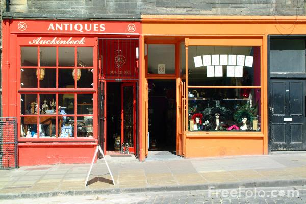 Picture of Antique Shop, West Bow, Edinburgh - Free Pictures - FreeFoto.com