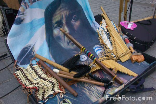 Picture of Pan Pipes and an Indian Peace Pipe - Free Pictures - FreeFoto.com