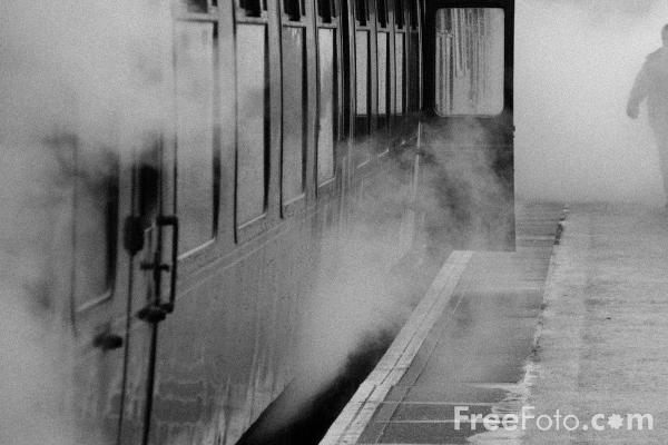 Picture of Railway carriage surrounded by steam - Free Pictures - FreeFoto.com
