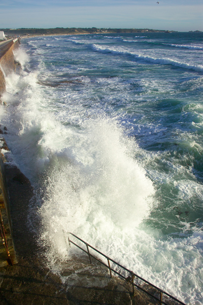 Picture of Waves crashing against the Seawall, St Ouen's Bay, Jersey, - Free Pictures - FreeFoto.com