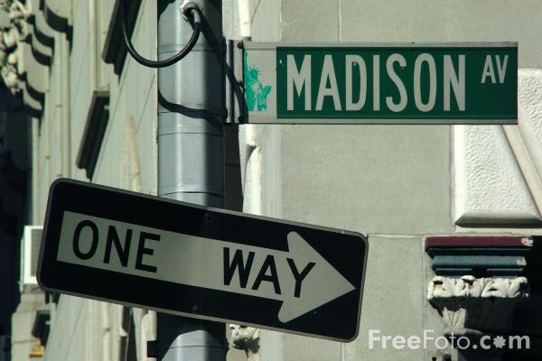 Picture of Madison Avenue Sign, New York City - Free Pictures - FreeFoto.com