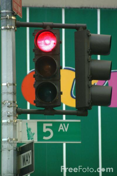 Picture of Traffic Light, 5th Avenue, New York City - Free Pictures - FreeFoto.com
