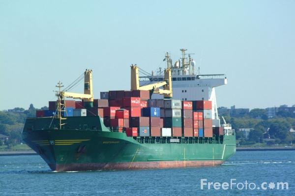 Picture of Container Ship, The Narrows - New York City - Free Pictures - FreeFoto.com