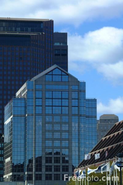 Picture of Boston Skyline from the Waterfront, Boston, Massachusetts - Free Pictures - FreeFoto.com