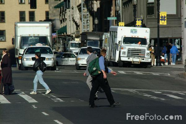 Picture of Pedestrians, Boston, Massachusetts - Free Pictures - FreeFoto.com