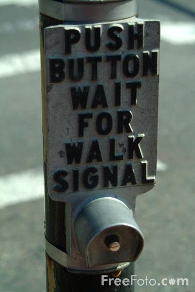 Picture of Push button wait for walk signal, Boston, Massachusetts - Free Pictures - FreeFoto.com