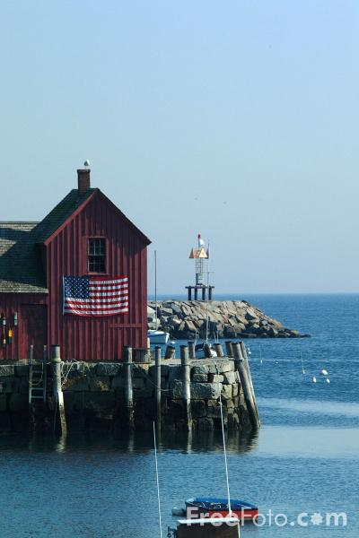 Picture of America's most-painted building, Motif #1, Bradley Wharf, Rockport, Massachusetts - Free Pictures - FreeFoto.com