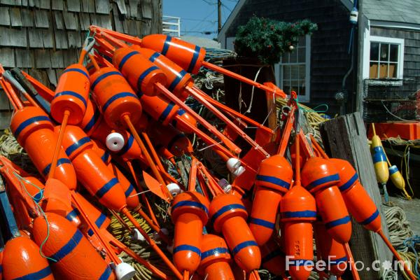 Picture of Lobster Buoys, Rockport, Massachusetts, USA - Free Pictures - FreeFoto.com