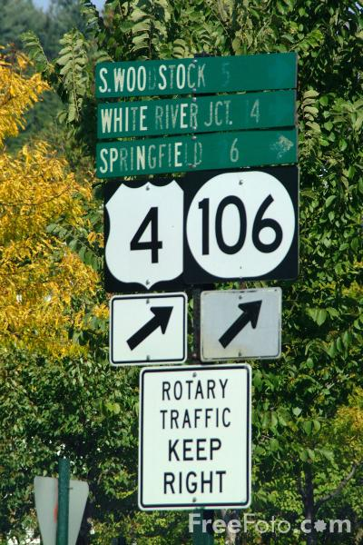 Picture of Road Sign, Woodstock, Vermont - Free Pictures - FreeFoto.com