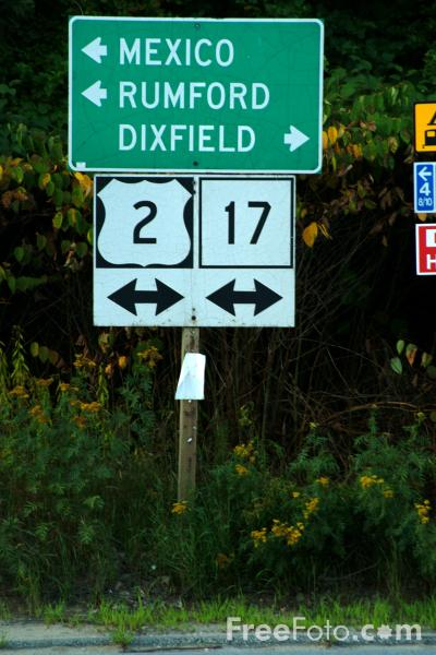 Picture of Road Sign, Mexico, Maine, USA - Free Pictures - FreeFoto.com