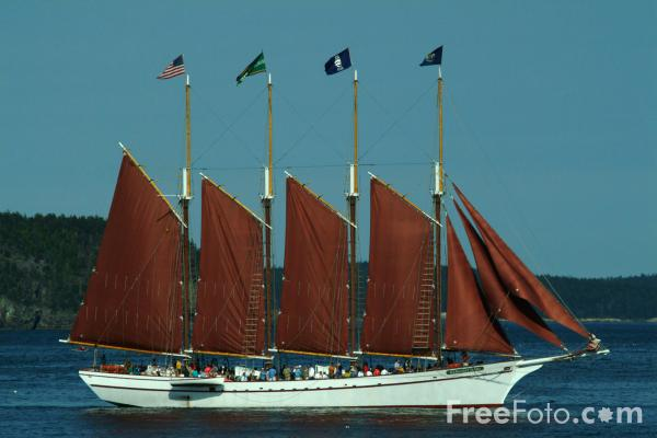Picture of four-masted schooner Margaret Todd, Bar Harbor, Maine, USA - Free Pictures - FreeFoto.com