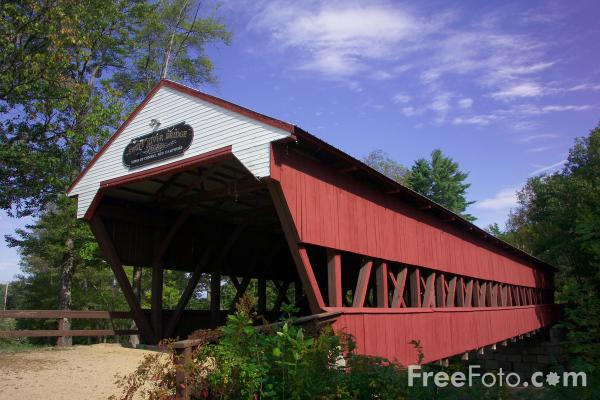 Picture of Swift River Covered Bridge, Conway, New Hampshire, USA - Free Pictures - FreeFoto.com
