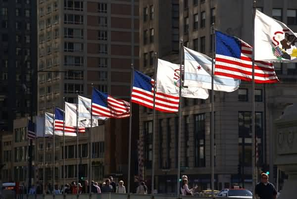 Picture of Flags, The Michigan Avenue Bridge, Chicago, Illinois, USA - Free Pictures - FreeFoto.com