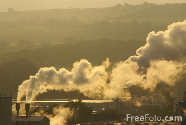 Picture of Chimney Stack and Drifting Steam - Free Pictures - FreeFoto.com