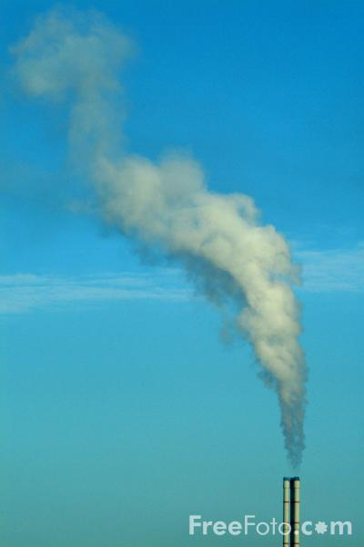 Picture of Chimney Stack and Drifting Steam, Billingham, Teesside - Free Pictures - FreeFoto.com
