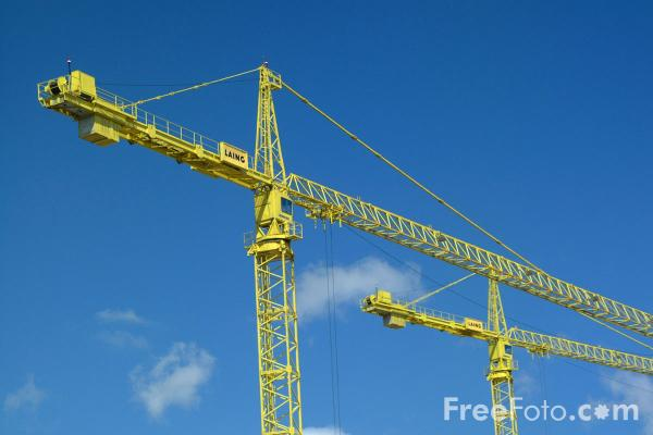 Picture of Tower Cranes, Building Site, Gateshead - Free Pictures - FreeFoto.com