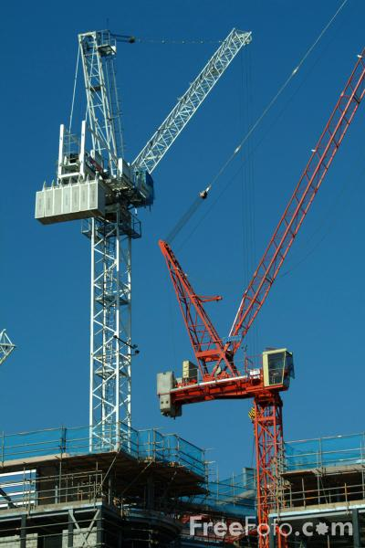 Picture of Tower Cranes, Building Site, Nottingham - Free Pictures - FreeFoto.com