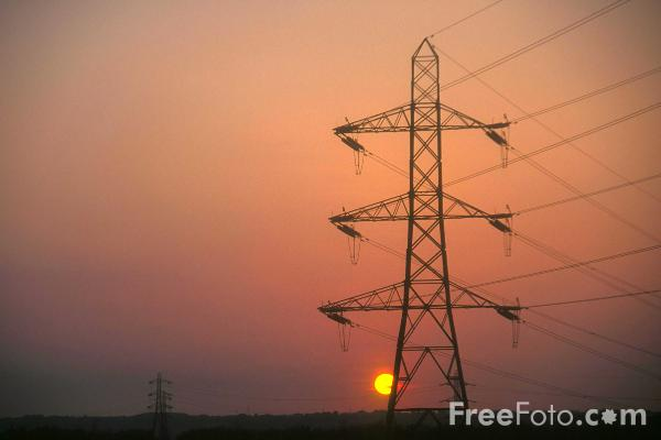 Picture of High Voltage Power Lines at Sunset - Free Pictures - FreeFoto.com