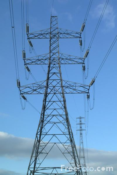 Picture of Pylon and high voltage power lines - Free Pictures - FreeFoto.com