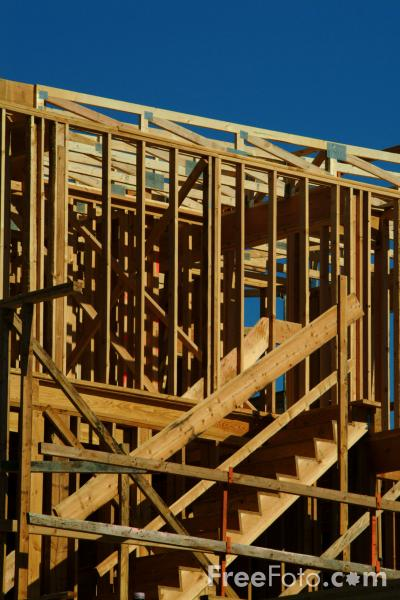 Picture of Wooden Building Under Construction, USA - Free Pictures - FreeFoto.com