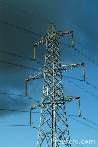 Picture of Cell Phone Antenna on a High Voltage Power Line Pylon - Free Pictures - FreeFoto.com