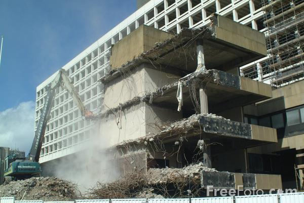 Picture of Building Demolition, Newcastle upon Tyne, Tyne - Free Pictures - FreeFoto.com