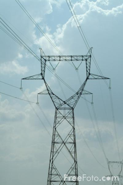 Picture of Pylons and High Voltage Power Lines, France - Free Pictures - FreeFoto.com