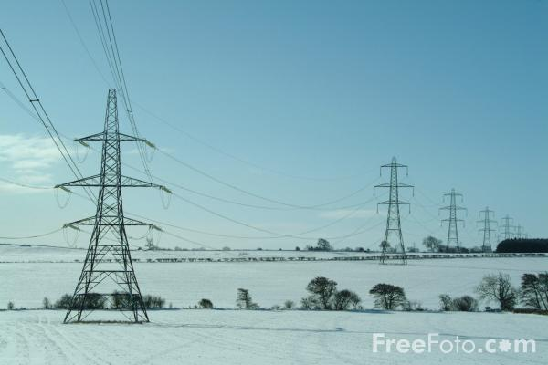 Picture of Power Lines in the snow - Free Pictures - FreeFoto.com