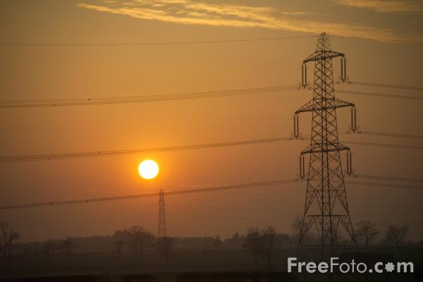 Picture of Power Lines at Sunset - Free Pictures - FreeFoto.com