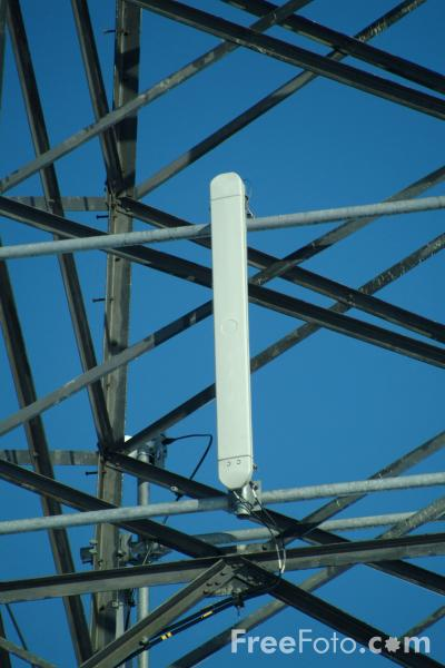 Picture of Cell Phone Aerial on a High Voltage Transmission Tower - Free Pictures - FreeFoto.com