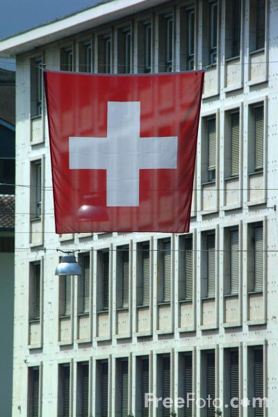 Picture of Swiss Flag, Thun, Berner Oberland, Switzerland - Free Pictures - FreeFoto.com