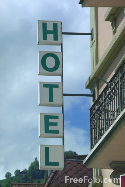 Picture of Hotel Sign, Interlaken, Berner Oberland, Switzerland - Free Pictures - FreeFoto.com