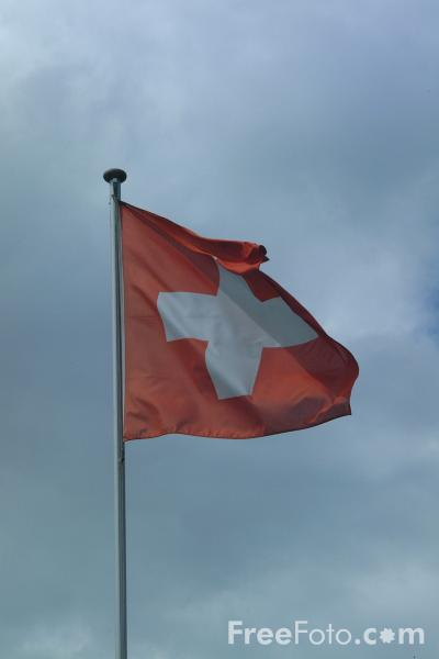 Picture of Swiss Flag, Oberhofen am Thunersee - Free Pictures - FreeFoto.com